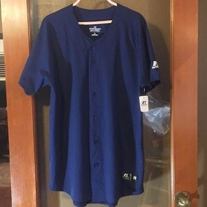 NWT Russell blue baseball button jersey unisex